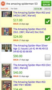 Comic book value after using checkboxes to pick comps
