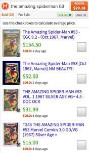 Mavin comic book value of Amazing Spiderman #53