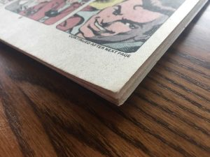 Condition of pages and corners of comic book.