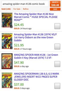 Looking up Spider-Man prices