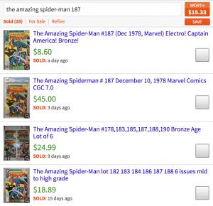 Mavin value estimate for Marvel Spider-Man comic book