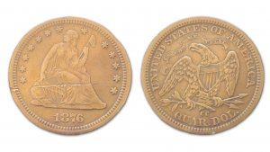 Front and back of an 1876 Carson City Seated Liberty Quarter