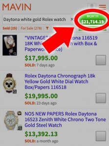 Looking up Rolex watch prices on Mavin
